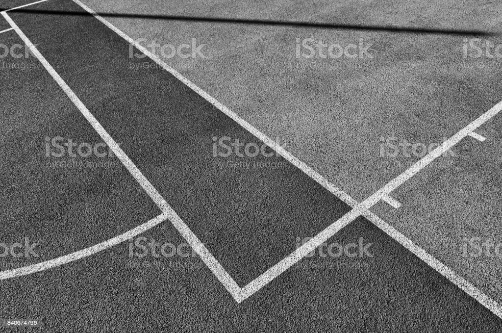 Lines on outdoor playing field. stock photo