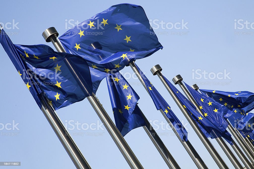 Line-up of European flags royalty-free stock photo