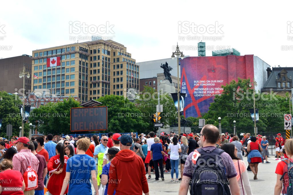 Lineups for security checks on Canada Day in Ottawa stock photo