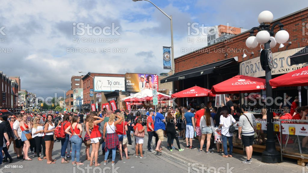 Lineups on Clarence Street on Canada Day stock photo