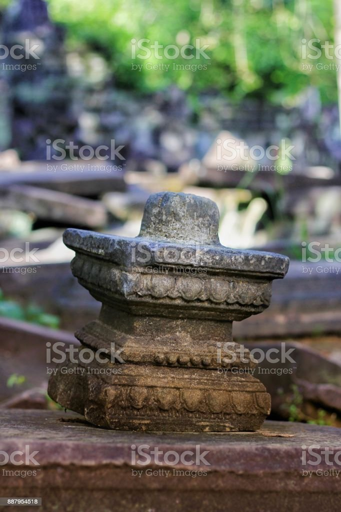 Lingam statue in a ancient temple in Siem Reap, Cambodia stock photo