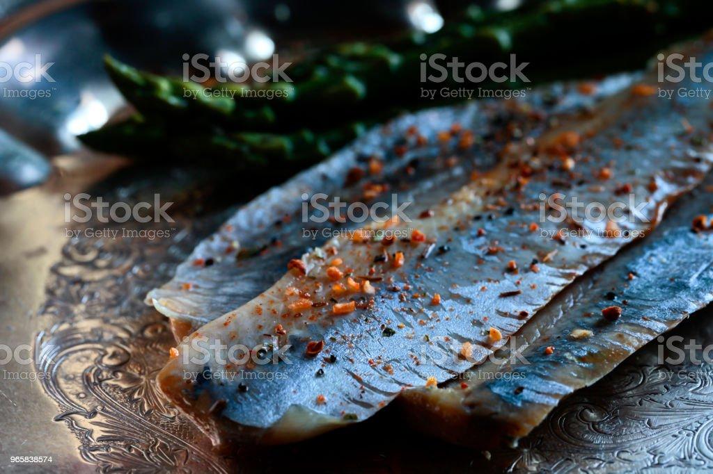 Ophiodon elongatus filet met asperges - Royalty-free Asperge Stockfoto