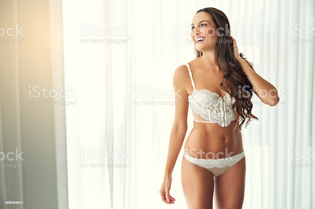 Lingerie always makes a woman feel sexy stock photo