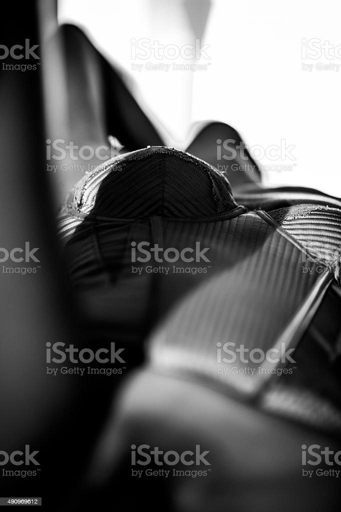 Lingerie, corset and black & white model stock photo