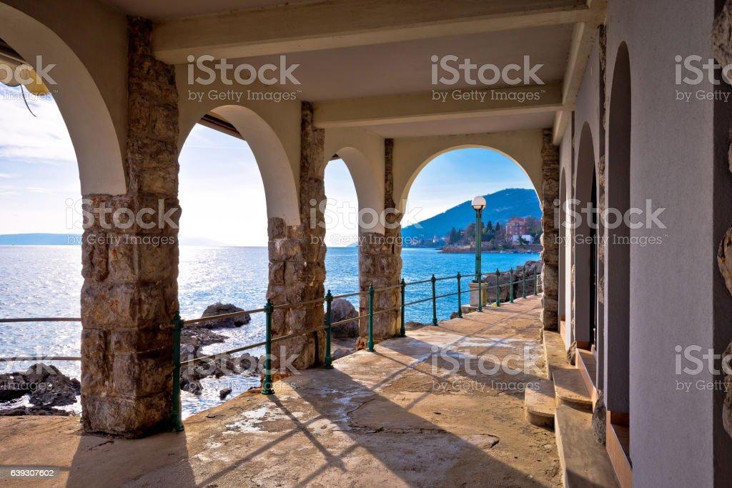 Lingomare seafront walkway in Opatija Riviera stock photo