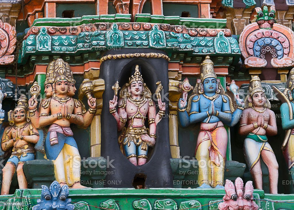 Lingothbawar, Shiva popping out of the Shivalingam. stock photo