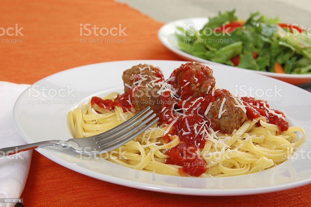 Linguine and Meatballs royalty-free stock photo