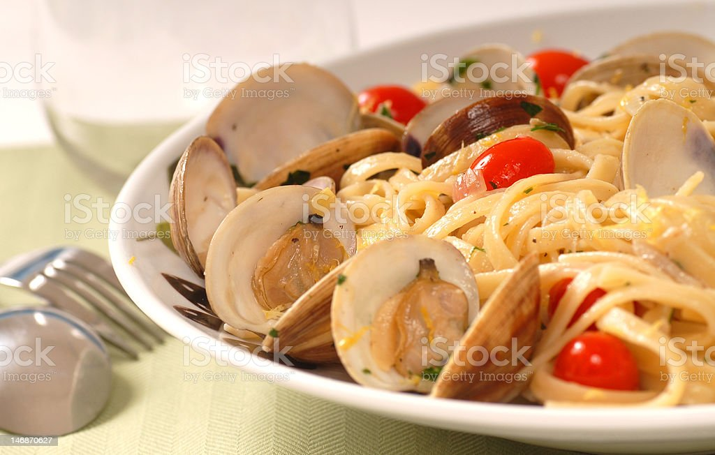 Linguine with clam sauce stock photo