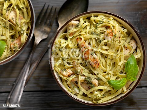 Linguine with Grilled Chicken and Basil Pesto Sauce -Photographed on Hasselblad H3D-39mb Camera