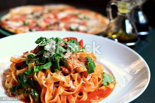 Italian meal - Linguine in tomato sauce, with Italian sausage and spinach. Serve with a pizza