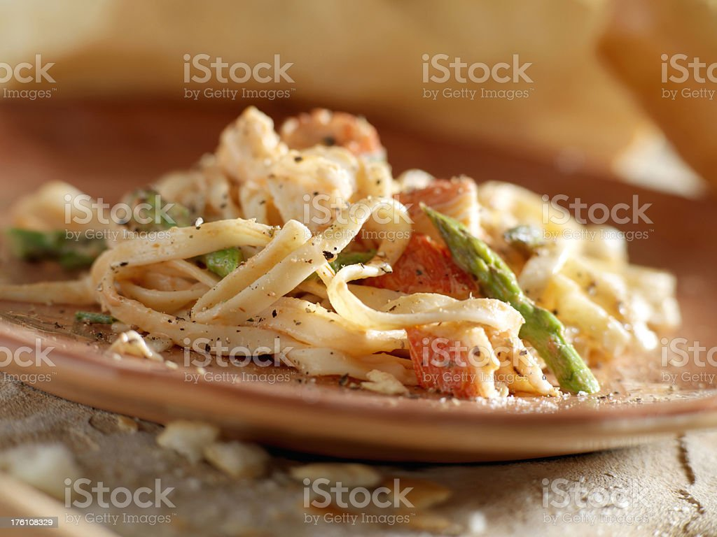 Linguine with Lobster and Asparagus royalty-free stock photo