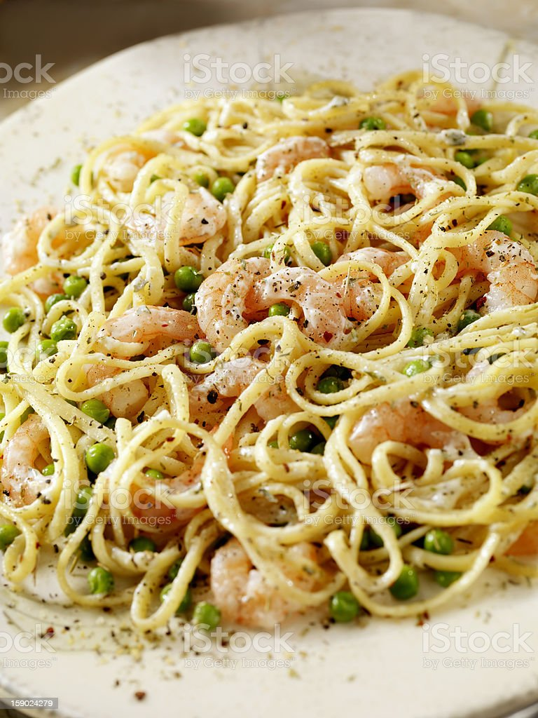 Linguine with Shrimp and Peas royalty-free stock photo