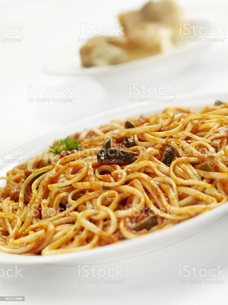 Linguine with Zucchini in Tomato Sauce royalty-free stock photo