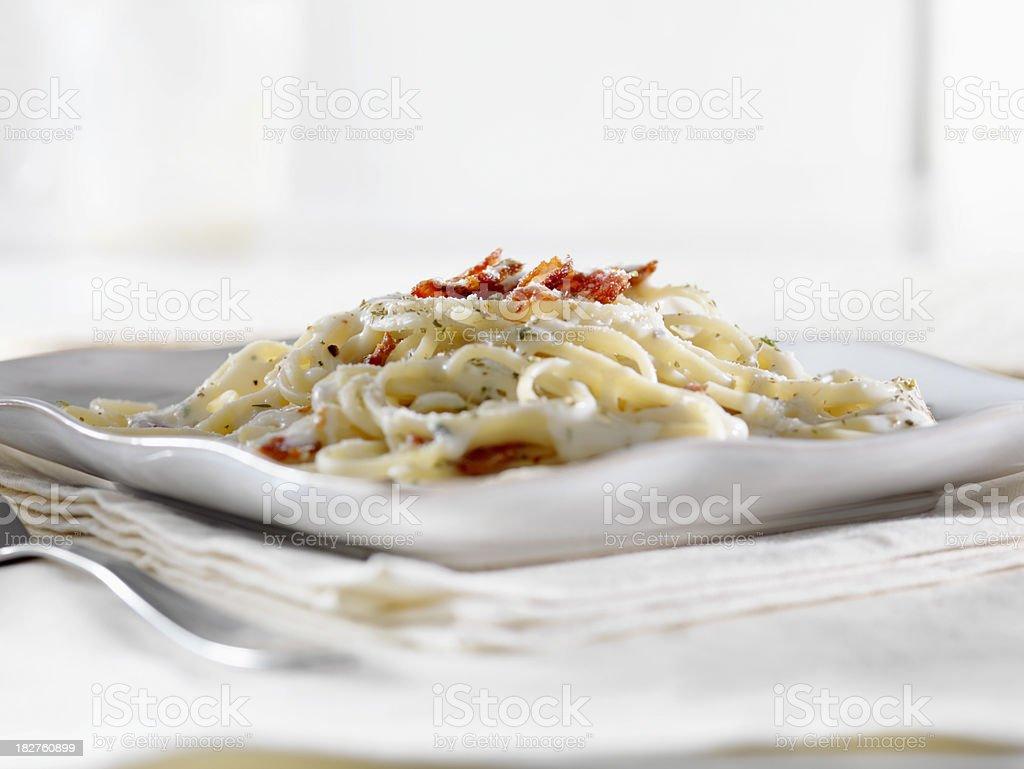 Linguini Carbonara in a Garlic Cream Sauce stock photo