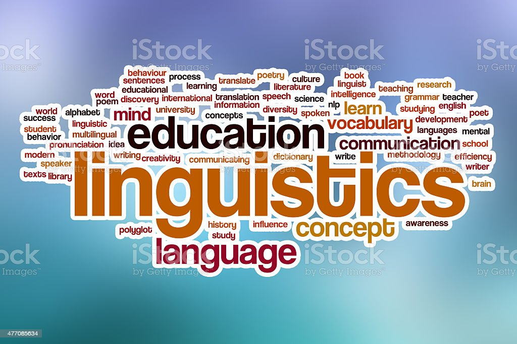 Linguistics word cloud with abstract background stock photo