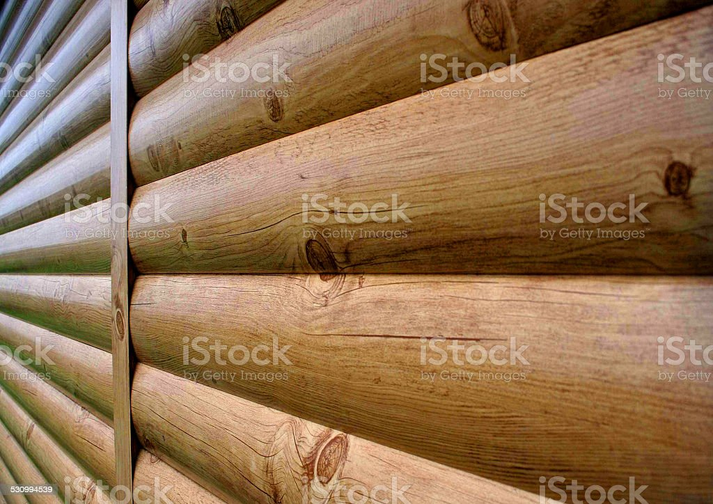 Lining the walls of the natural wood. stock photo