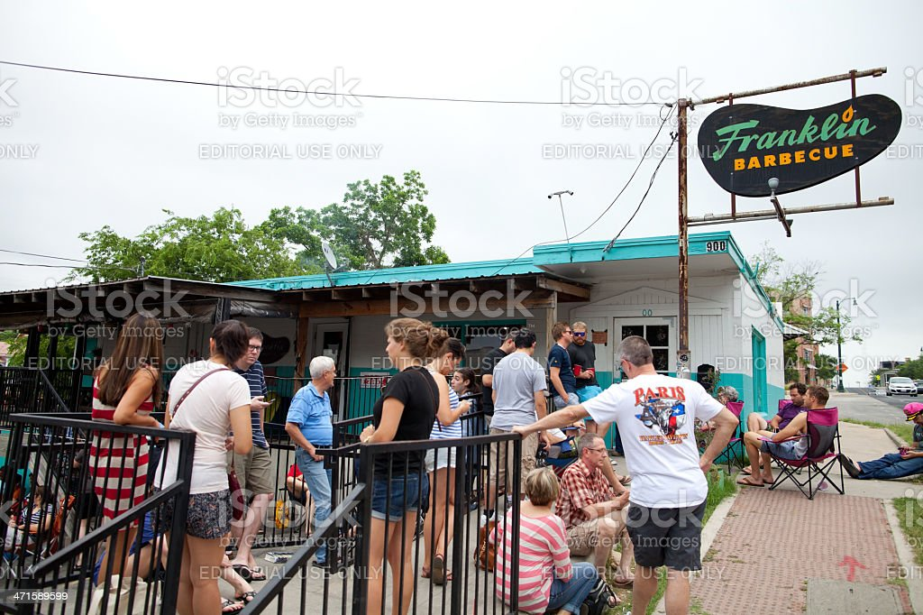 Lining up for BBQ, Austin, Tx stock photo