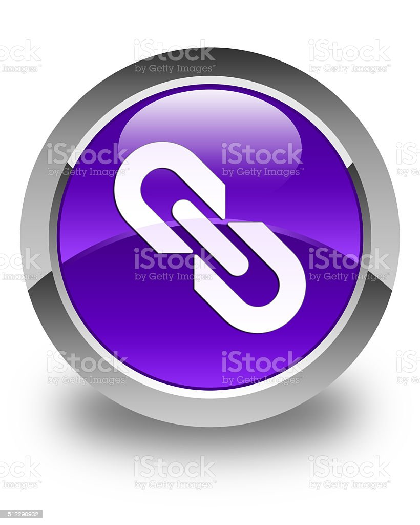 Link icon glossy purple round button stock photo