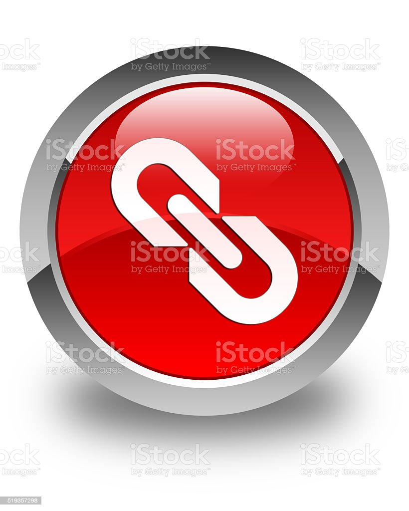 Link icon glossy red round button stock photo