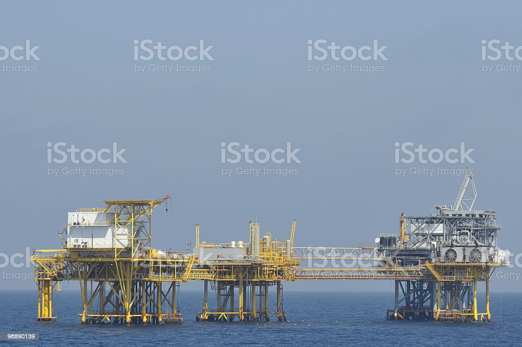 Linked offshore Natural Gas Platforms royalty-free stock photo