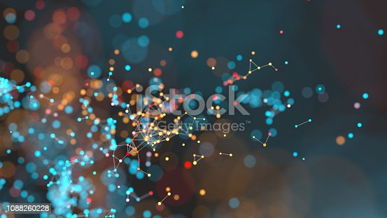 3D render of a cluster of linked colorful particles