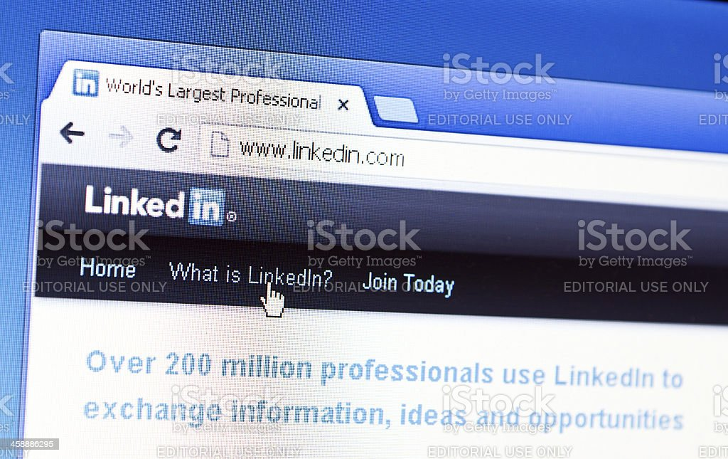 Close up of Linkedin\'s main page on the web browser. Linkedin is a...