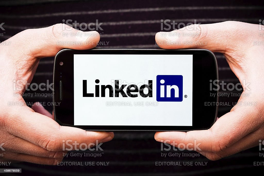 Linkedin Logo on Galaxy Nexus Smartphone by Samsung and Google stock photo