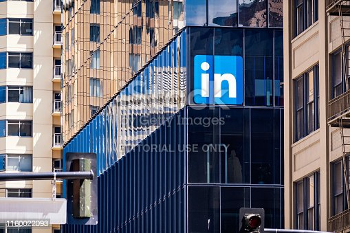 June 30, 2019 San Francisco / CA / USA - LinkedIn offices in downtown San Francisco; LinkedIn is an American business and employment-oriented service and it owned by Microsoft