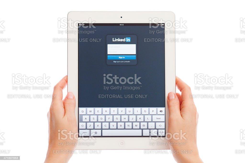 LinkedIn on iPad stock photo