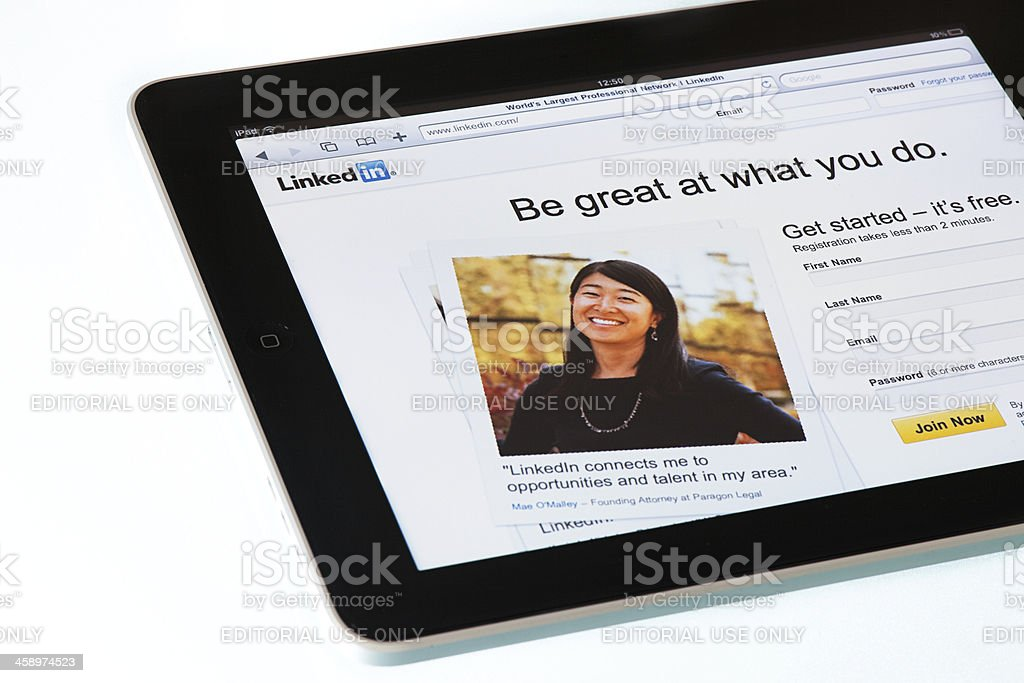Linkedin page on  Apple iPad2 stock photo