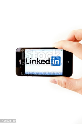 istock Linkedin Professional Social Network on Iphone 4 458526165
