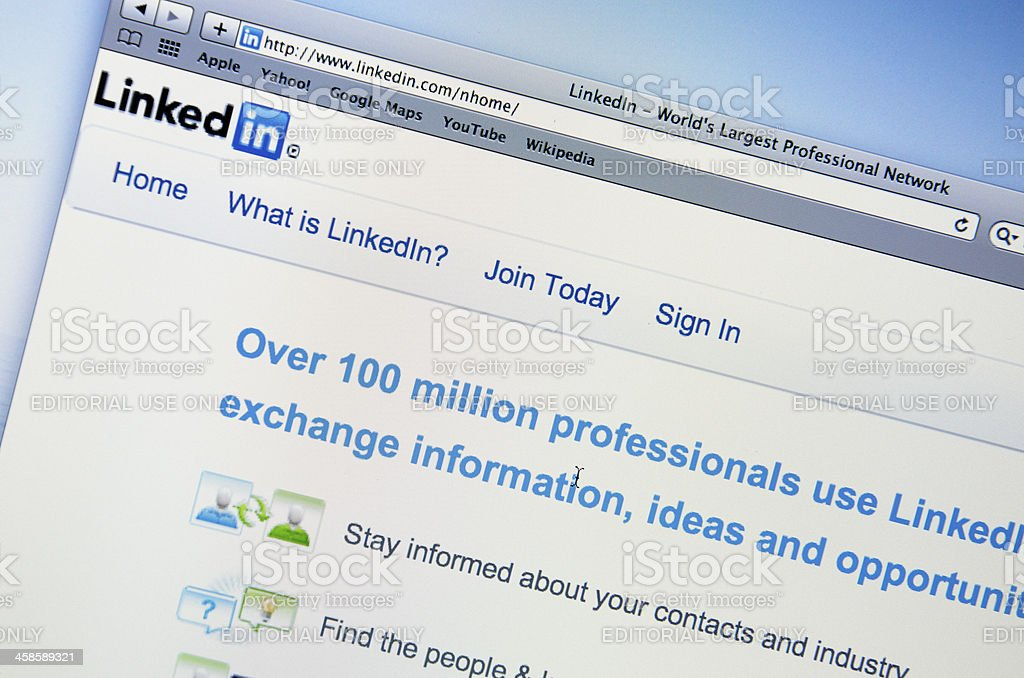 LinkedIn web pages on LCD screen stock photo