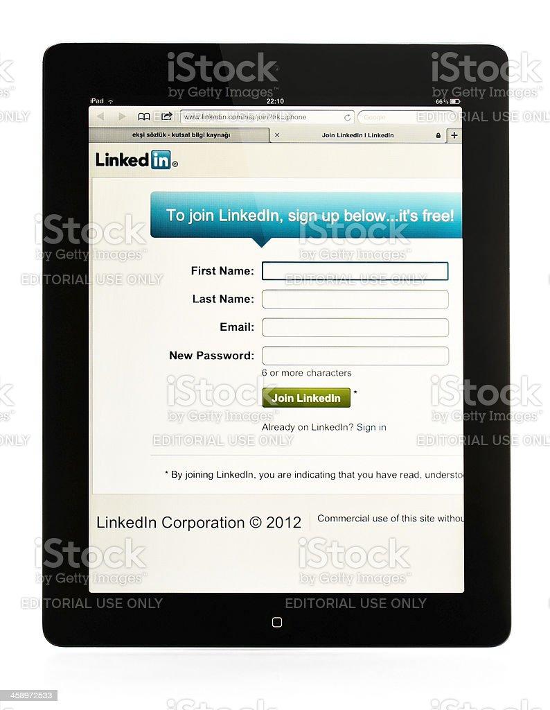 Linkedin web site on Apple iPad stock photo