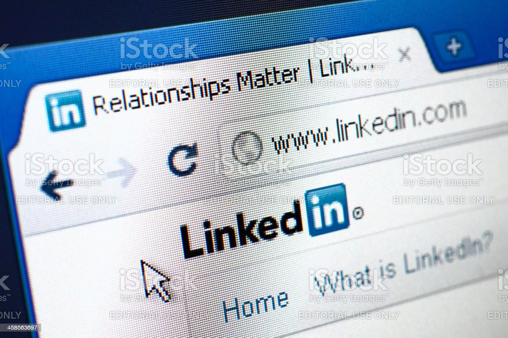 Linkedin webpage on the browser stock photo