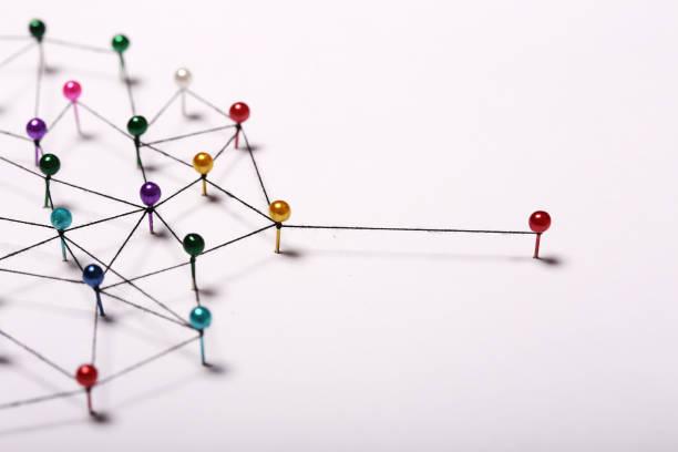 vinculando entidades. rede, networking, redes sociais, internet co - atado - fotografias e filmes do acervo