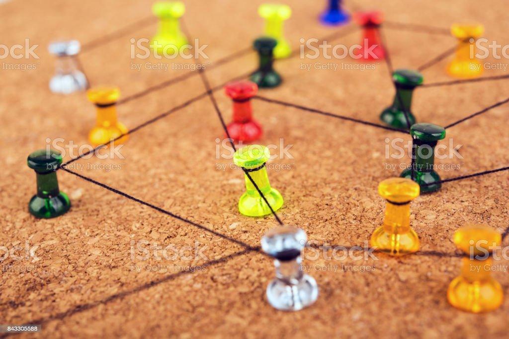 Vinculación de las entidades. Red, redes, redes sociales, internet co - foto de stock