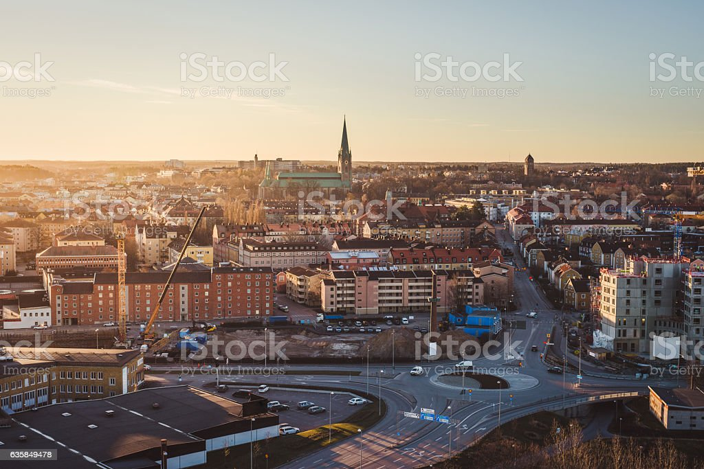 Linköping city in Sweden stock photo