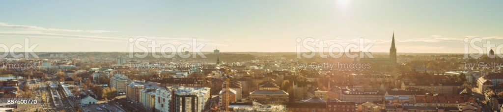 Linköping city view on sunny day stock photo