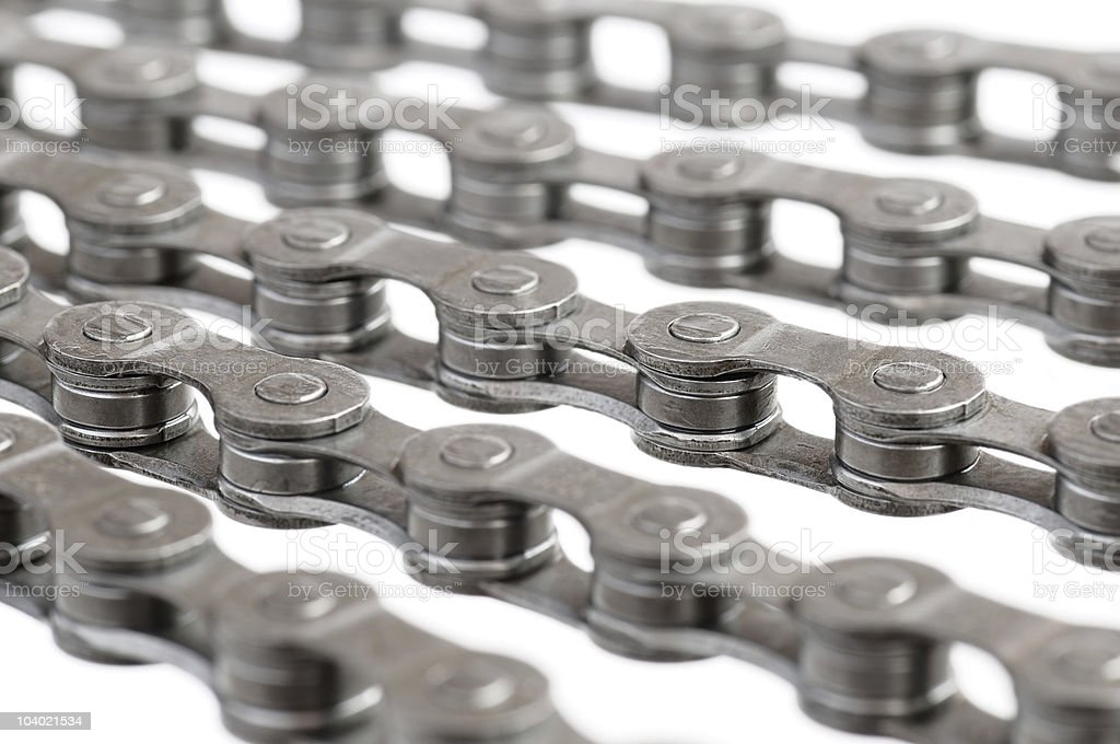 Links of bicycle chain. stock photo