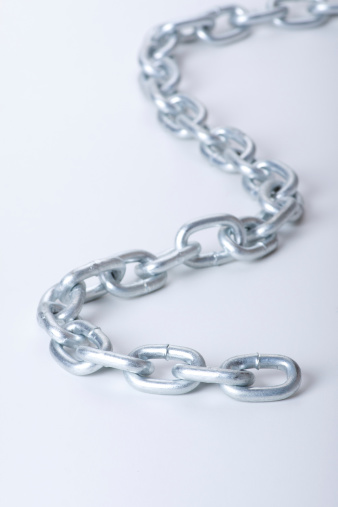 metal links of chain on a white background