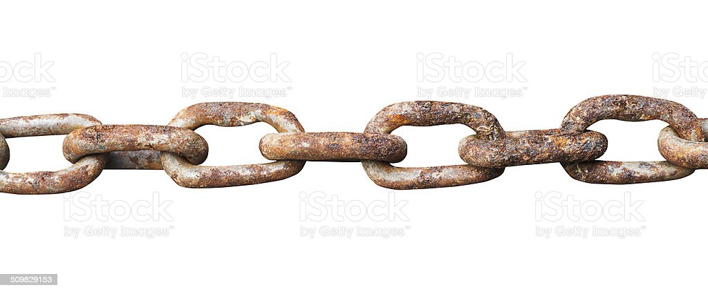 links of old rusty steel chain isolated on white stock photo