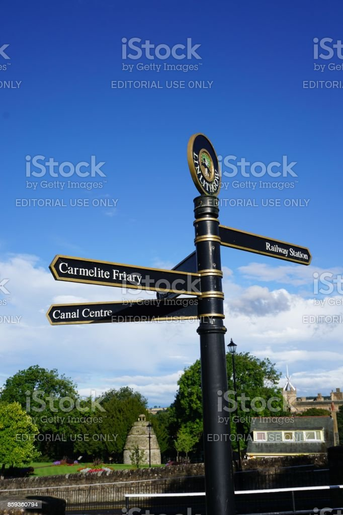 Linlithgow Canal Centre - signpost stock photo