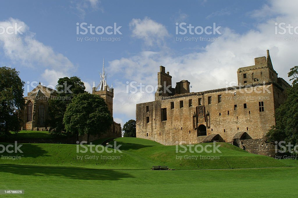 Linlithgow Palace The medieval palace and church of Linlithgow, near Edinburgh in Scotland Castle Stock Photo