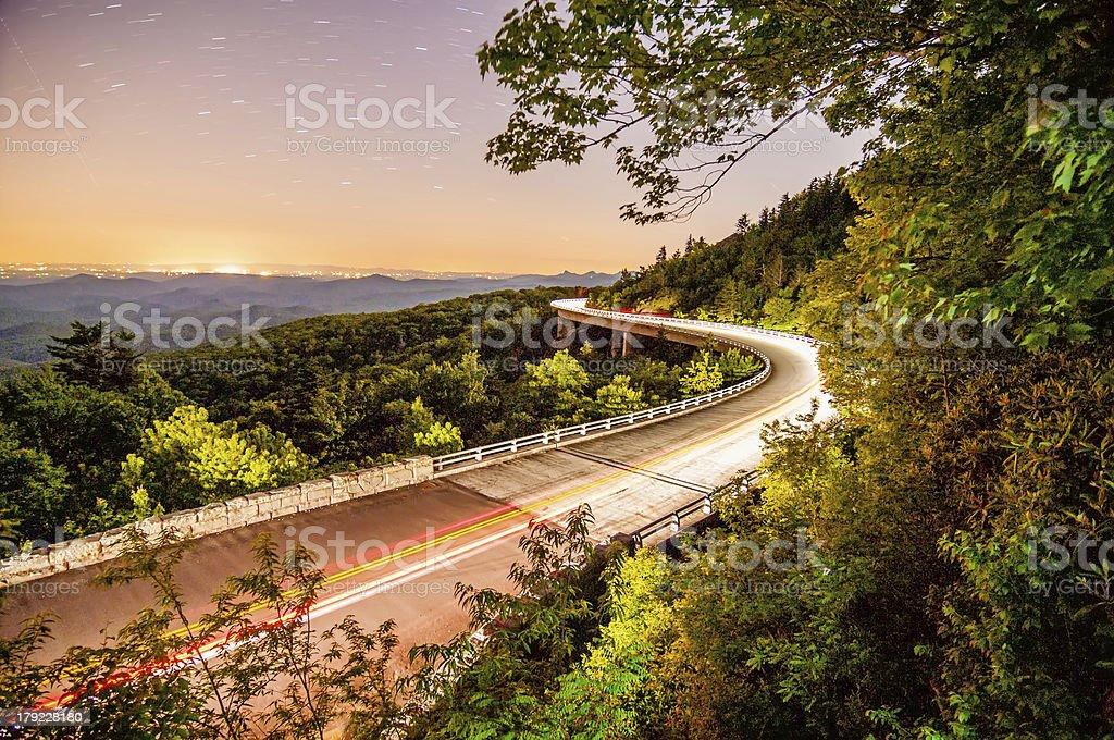 linn cove viaduct at night stock photo