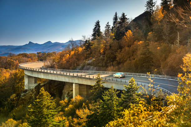 Linn Cove Viaduct Blue Ridge parkway in autumn stock photo