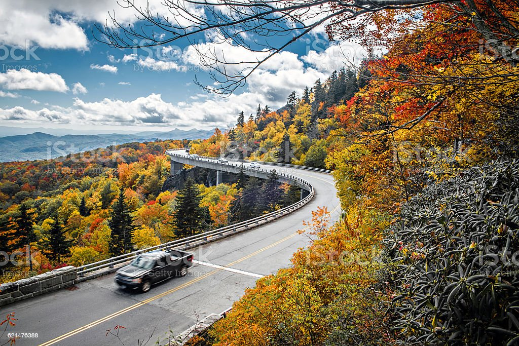 Linn Cove Viaduct carries the Blue Ridge Parkway stock photo