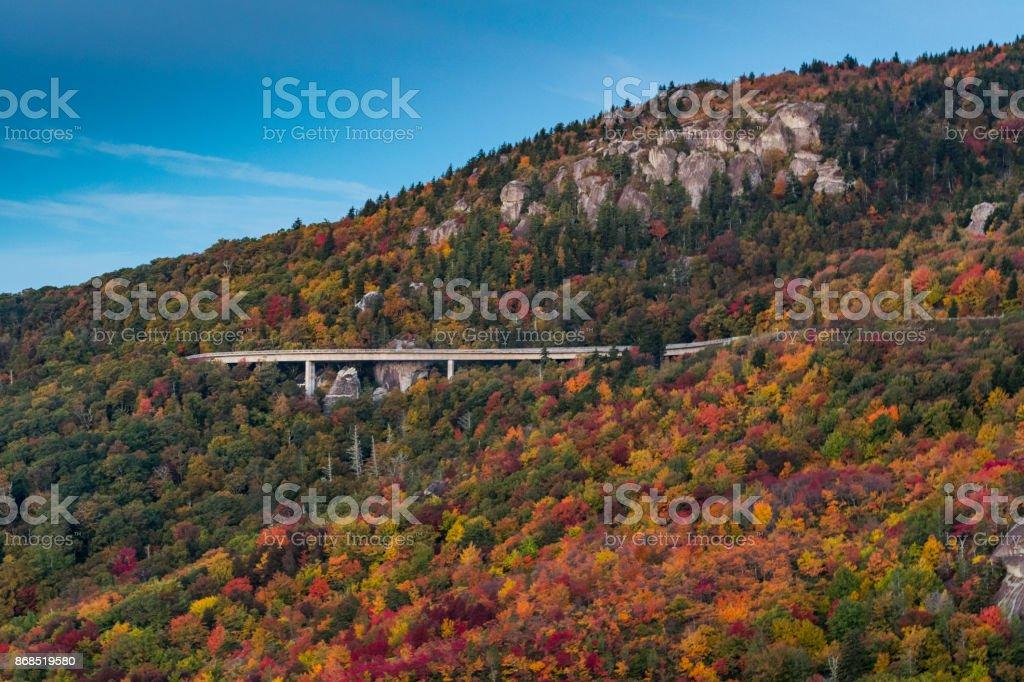 Linn Cove Viaduct In Fall from Rough Ridge stock photo