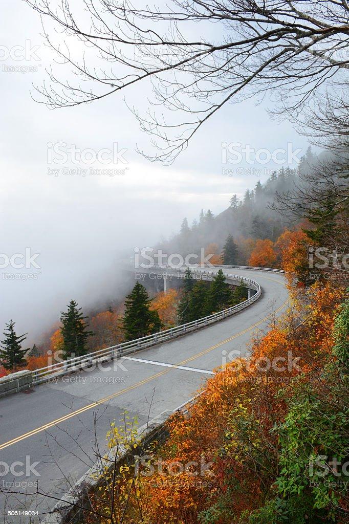Linn Cove Viaduct on foggy autumn morning. stock photo