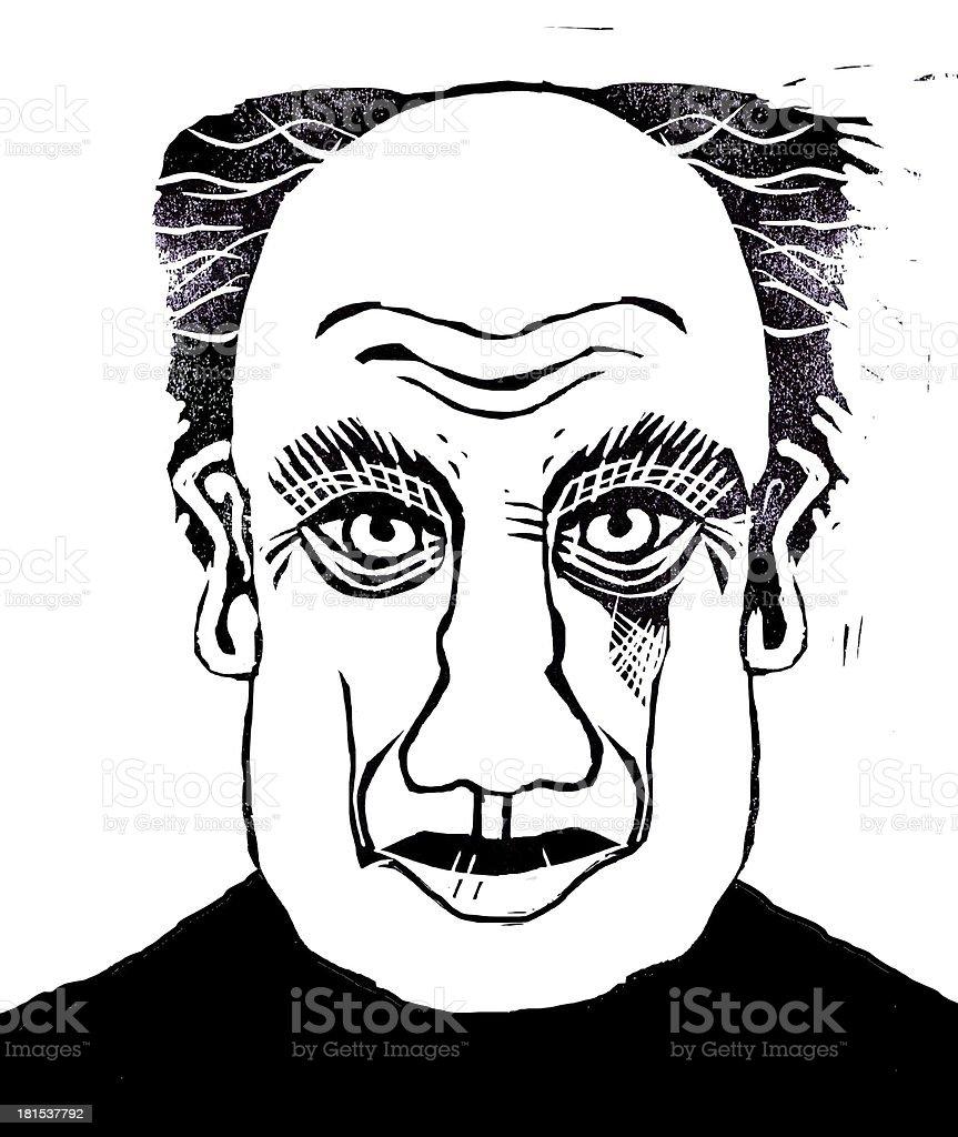 Lino cut of man's face - illustration. royalty-free stock photo