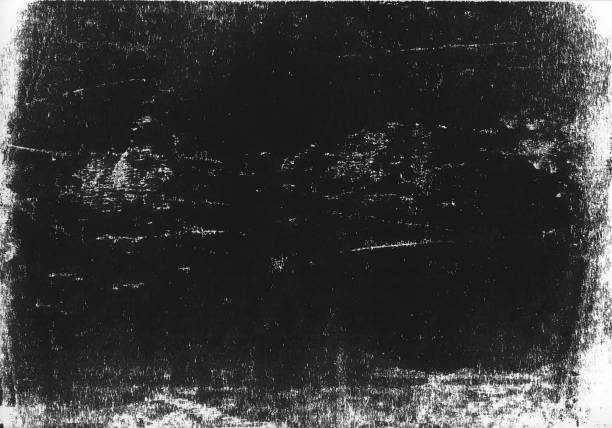 A lino printed, distressed, grunge texture background in black and white. A high resolution scan of a black and white distressed lino print texture. Ideal for use as a background texture. linocut stock pictures, royalty-free photos & images